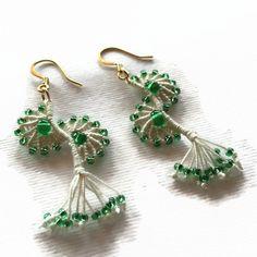 Beige ecru green Angel wings earrings by LittleFlowerbyGloria