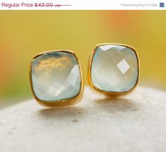 BOXING DAY SALE Gold Sea Green Chalcedony Stud Earrings  by OhKuol, $33.60