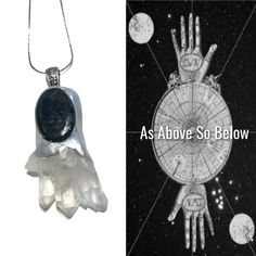 Clear Quartz and Nuummite Necklace. As Above, So Below. Magicians Amulet of Power, Master Healing Unique Unisex Crystal Healing #1193 by AngelsCrystalAlchemy on Etsy