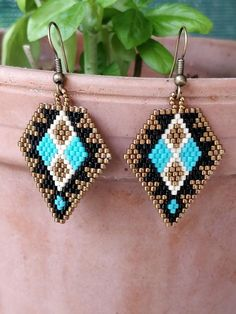 Items similar to native american earrings / native pattern / casual earrings / everyday jewelry / turquoise jewelry / black earrings / beaded earrings on Etsy Beaded Earrings Native, Beaded Earrings Patterns, Seed Bead Earrings, Diy Earrings, Beading Patterns, Earrings Handmade, Handmade Wire, Mosaic Patterns, Loom Patterns