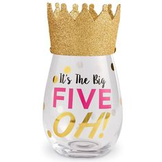 """50th Birthday Stemless Wine Glass - This 2-piece set includes a stemless wine glass with a festive wearable birthday hat. The glass features gold foil embellished """"It's The Big FIVE OH!"""" message. Celebrate turning 50 in style. From Mud Pie.  Size: glass 16 oz 