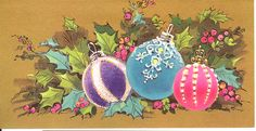 Bright Ornaments on Bronze-y Background | vintage Christmas … | Flickr