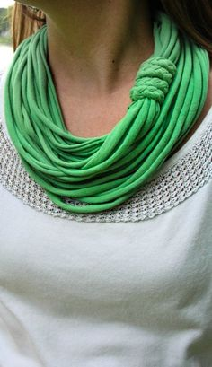 Another recycling project for all those old shirts! 15 Minute T-Shirt Infinity Scarf. THIS TOOK LIKE 5 MINUTES