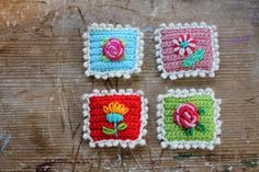 """"""" DIY Crochet Miniature Postage Stamp Tutorial and Pattern from LIttle Woolie. This would make such a good gift with other stationary items. Mode Crochet, Crochet Home, Diy Crochet, Crochet Crafts, Yarn Crafts, Crochet Projects, Decor Crafts, Paper Crafts, Crochet Tutorials"""