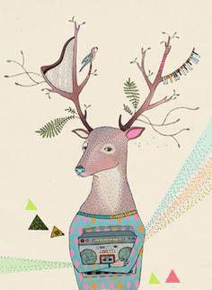 Drawn hispter raindeer Christmas card
