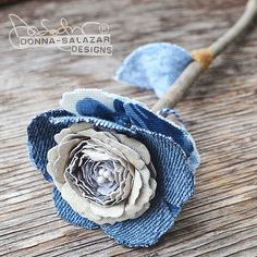 DIY Paper and Denim Roses, a Flower Tutorial by Donna Salazar   DIY Flower tutorial using new and existing flower dies from @spellbinders using #sbadhesivesby3L mixed media products