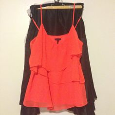 [Sofia Vergara] flirty ruffled top Sofia Vergara for Kmart brand. Size M. Bright orange ruffled top. Ruffles are on front and back of the top. Very flirty, fun and summery. Looks great for a night out w skinnys and heels. Never worn but no tags. Kinda got lost in my closet last year and dug it up just now. Sofia Vergara Tops