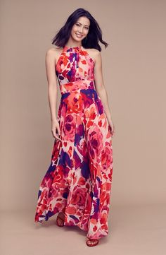 Main Image - Eliza J Floral Print Halter Maxi Dress (Regular & Petite)