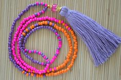 Hot pink tassel necklace Long tassel necklace Beaded necklace with tassel Seed…