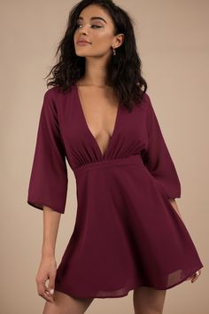 Shop Fit and Flare Skater Dresses at Tobi. Whether it's a white lace skater dress, black long sleeve or red skater dress - find it here. Sexy Dresses, Cute Dresses, Vintage Dresses, Evening Dresses, Fashion Dresses, Party Dresses, Red Skater Dress, Deep V Dress, Long Sleeve Short Dress