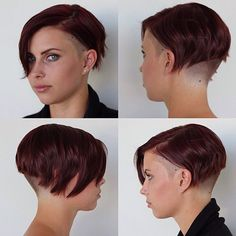 "Dramatic, severely-undercut short bob on red hair - (""JustSoHot! Shaved Undercut, Shaved Nape, Shaved Sides, Short Undercut, Undercut Pompadour, Disconnected Undercut, Short Hair Cuts, Short Hair Styles, Bald Hair"