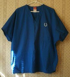 NFL Indianapolis Colts Scrub Top Unisex Mens Womens Blue Size Large L  #NFL…