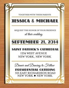 Elegant Gatsby-inspired wedding invitation with gold foil borders #wedding #invitations #gatsby #gold #goldwedding