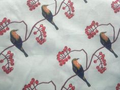 Cuckoo On A Red Berry Tree Fabric Poly Cotton Extra Wide by RaajMa