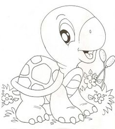 Turtle in Flower Bed Colouring Pics, Coloring Book Pages, Printable Coloring Pages, Coloring Pages For Kids, Coloring Sheets, Baby Motiv, Applique Patterns, Digi Stamps, Embroidery Designs