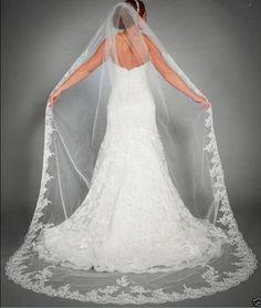 Encontrar Más Velos de Novia Información acerca de Una Capa de Encaje Edge Bridal Veil Accesorios de Boda…