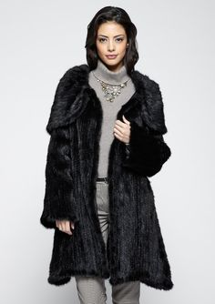 AVANTE Knit Mink Full Length Hooded Coat | ideel