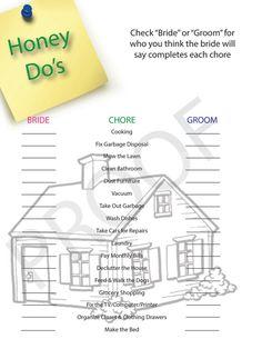 Vintage Bridal Shower Games | Bridal Shower Game-- Honey Do themed- Digital File to Download