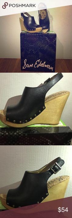 SAM EDELMAN Shoe Style: Camilla                                                  Color: Black Leather                                        Material: Leather                                                  Size: 8 Sam Edelman Shoes Wedges