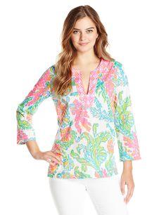 Lilly Pulitzer Women's Amelia Island Tunic Top, White, X-Small