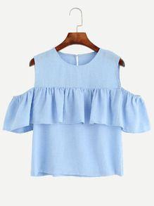 Blue Open Shoulder Ruffle Top Cute Women's Summer Shirt Round Neck Short Sleeve Cut Out Blouse Ruffle Top, Ruffle Shirt, Ruffle Collar, Ruffle Sleeve, Frill Tops, Blue Short Sleeve Tops, Crop Top Outfits, Flutter Sleeve Top, Preppy Style