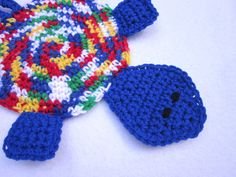Turtle Pot Holder Blue Turtle Hot Pad by crochetedbycharlene
