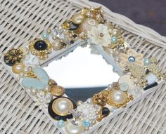 handmade vintage jewelry dog mosaic mirror,  poodles and pearls,  jewelry mosaic  mirror