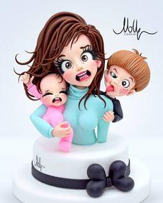 Fondant Face Tutorial, Fondant Figures Tutorial, Baby Boy Cakes, Girl Cakes, Cake Decorating Techniques, Cake Decorating Tutorials, Fondant People, Chocolate Cake Designs, Royal Cakes