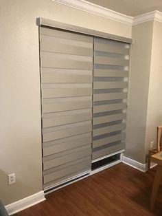 Zebra Curtains, Zebra Blinds, Curtains With Blinds, Patio Door Blinds, House Blinds, Condo Interior Design, Home Design Decor, Living Room Blinds, Living Room Windows