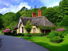 My dream house: a thatched roof cottage. For when I move to Ireland in a few more years. Irish Cottage, Cute Cottage, Cottage Style, Yellow Cottage, Cottage Pie, Fairytale Cottage, Storybook Cottage, Garden Cottage, Beautiful Homes