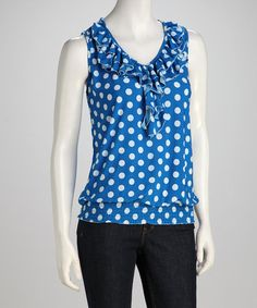 Take a look at this Blue Polka Dot Ruffle Top by jon & anna on #zulily today! $14.99