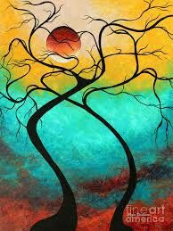 Shop for Megan Duncanson 'Twisting Love III' Colorful Contempoarary Landscape Painting Giclée on Metal. Get free delivery On EVERYTHING* Overstock - Your Online Art Gallery Shop! Get in rewards with Club O! Textured Canvas Art, Canvas Art Prints, Painting Prints, Painting Trees, Painting Art, Abstract Landscape Painting, Landscape Art, Landscape Paintings, Abstract Trees