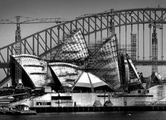 Sydney Opera House construction progress from Mrs Macquarie's Point, November Max Dupain photo. Organic Architecture, Historical Architecture, Amazing Architecture, Art And Architecture, House Under Construction, Construction Process, Gaudi, Old Pictures, Old Photos