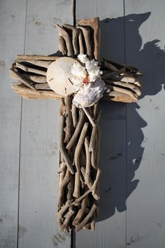 Driftwood Seashell Cross by MyHoneypickles on Etsy, $48.00