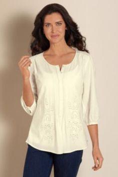 Eloise Eyelet Shirt - Womens 3/4 Sleeve Shirt, Embroidery Shirt, Ladies Soft Cotton Shirt  | Soft Surroundings