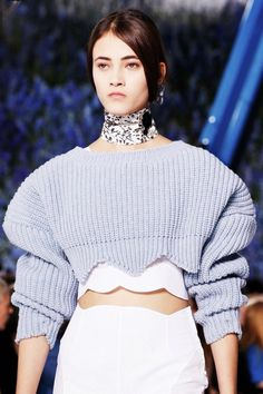 A knitwear crop top for Dior Spring 2016. Out of season fabrics showing that fashion calendars are out of date thanks to a global market? http://www.londonfittingrooms.com/le-boudoir/how-to-repair-knitwear-and-woollen-clothing