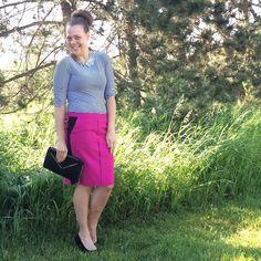 "Hot pink pencil skirt Hot pink pencil skirt, two black stripes down each side, pockets at hips, zipper closure. Length: 22.5"", waist: 16.5"", hips: 19.5"". Tag reads 10. Worthington Skirts Pencil"