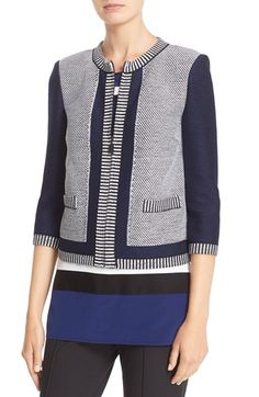 Free shipping and returns on St. John Collection Grenada Patch Knit Jacket at Nordstrom.com. Contrasting two-tone knits create a refined patchwork effect and reinforce the clean lines of a collarless jacket styled with three-quarter sleeves.