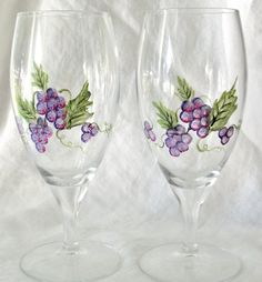 Two Grape Vine Water Goblets Hand Painted by bethscottage on Etsy, $15.00