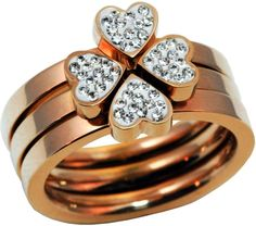 Rose Gold Clover Stainless Steel Stackable Crystal Heart Ring Sizes