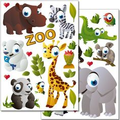 Wandkings wall stickers Zoo Animals Sticker Set  37 stickers on 2 US letter sheets each 83 x 117 inch * For more information, visit image link.