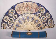 victorian fans | Victorian Blue Hand Painted Lithograph Foil Inlay Pierced Fan Box ...