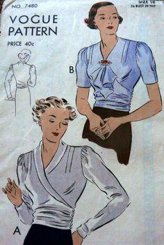 Vogue 7480   1930s Blouse pattern