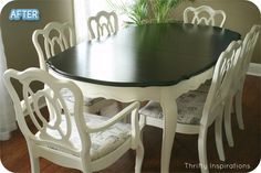 Better After: Table for Too - Thinking of flipping this look for my dining set.  Black on bottom and light on top.