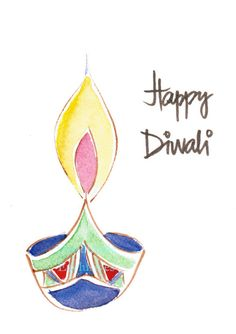 Handpainted Greeting Card Diwali Original by HandmadeExclusives, $3.50
