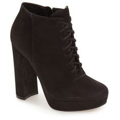 Women's Steve Madden 'Jolte' Lace-Up Bootie ($150) ❤ liked on Polyvore featuring shoes, boots, ankle booties, black nubuck, short boots, steve madden boots, lace up bootie, black booties and black lace up ankle booties
