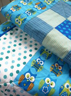 Blue Owls baby quilt for boy/wall hanging on Etsy, $99.00