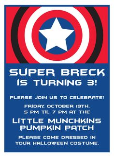 Captain America Invitation, Cupcake Toppers and Banner. $10.00, via Etsy.