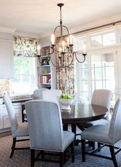 Dining Room. Traditional Dining Room Ideas. Designed by Elizabeth Reich. CHAIRS are what I am looking at in this search. Want a comfy informally formal DR--going to be using frequently--scotch guard. .
