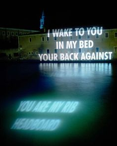 Helmut Lang Perfume campaign collaboration with Jenny Holzer in Venice.